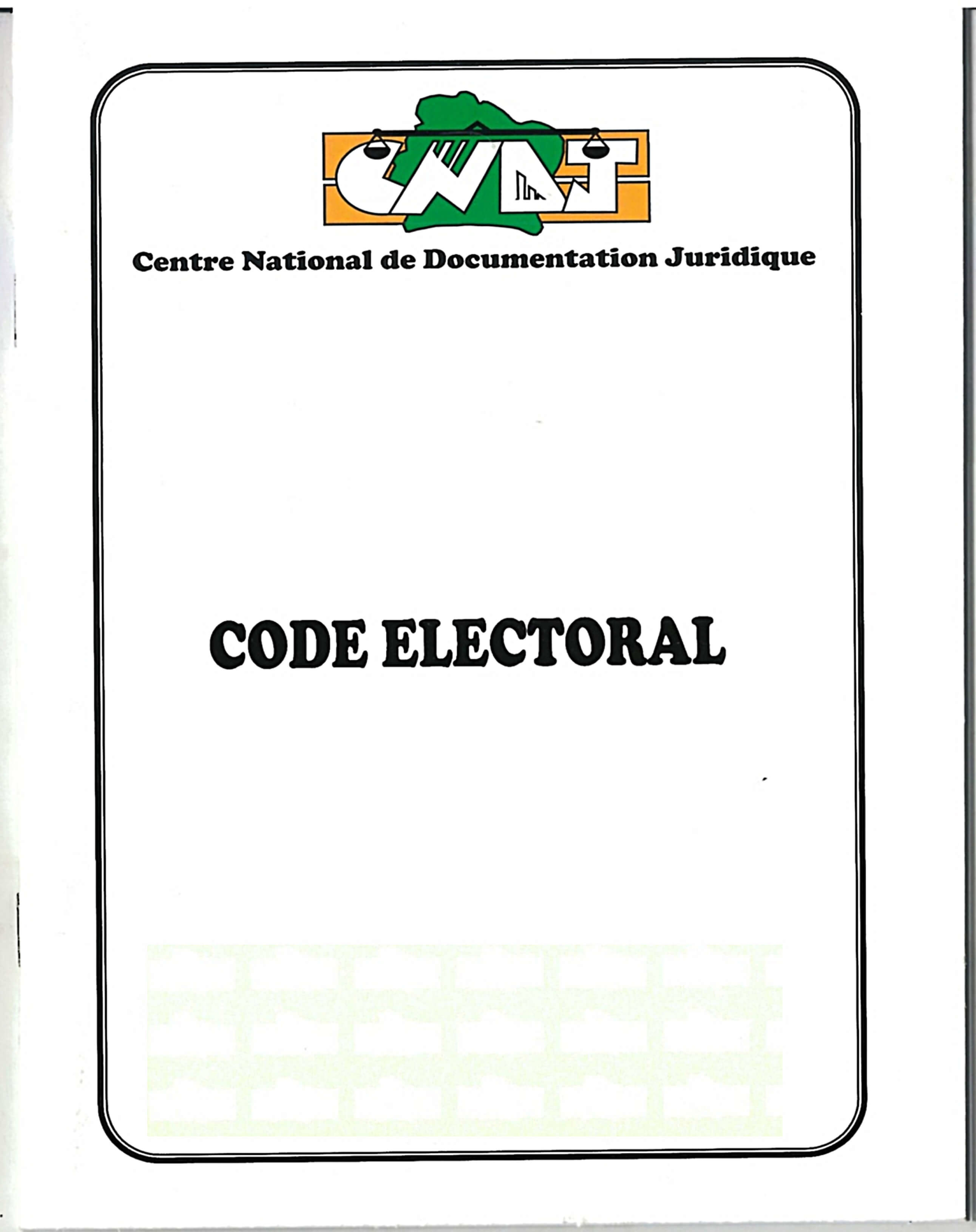 Code électoral de la République de Côte d'Ivoire